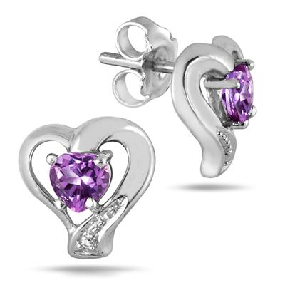 1.00 Carat Heart Shape Amethyst and Diamond Earrings in .925 Sterling Silver