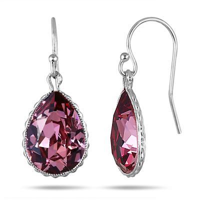 Genuine Swarovski Pink Crystal Earrings in .925 Sterling Silver
