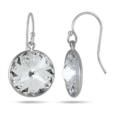 Genuine SWAROVSKI White Crystal Earrings in .925 Sterling Silver