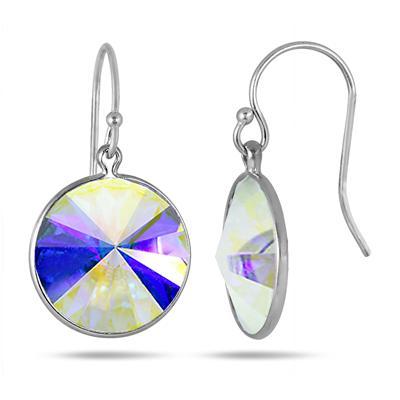 Genuine SWAROVSKI Aurore Boreale Crystal Earrings in .925 Sterling Silver