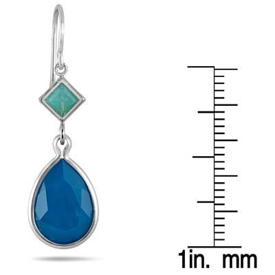 Genuine Swarovski Caribbean Crystal Opal Drop Earrings in .925 Sterling Silver