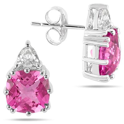 Cushion Cut Lab Created Pink and White Sapphire Earrings in .925 Sterling Silver