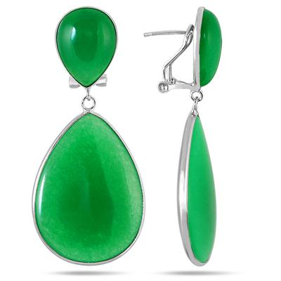 All Natural Pear Shaped Jade Earrings in .925 Sterling Silver