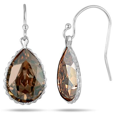 Genuine Swarovski Citrine Crystal Earrings in .925 Sterling Silver