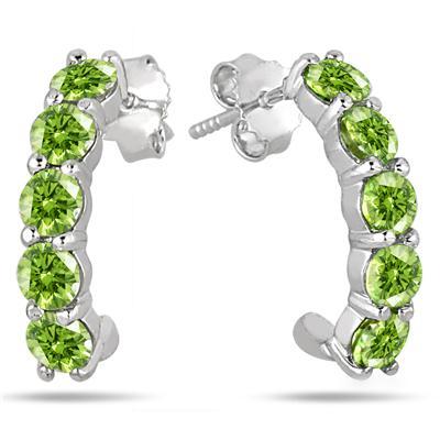 2.25 Carat Peridot Hoop Earrings in .925 Sterling Silver
