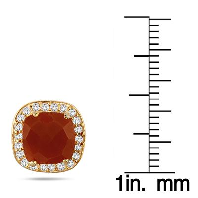 3.00 Carat Cushion Cut Carnelian and White Topaz Earrings in 18K Gold Plated Sterling Silver