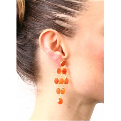 30 Carat Natural Oval Carnelian Drop Earrings in 18K Yellow Gold Plated Sterling Silver
