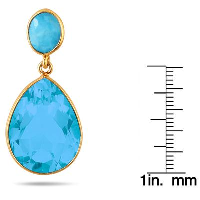 Turquoise Tear Drop Earrings in 18K Gold Plated Sterling Silver