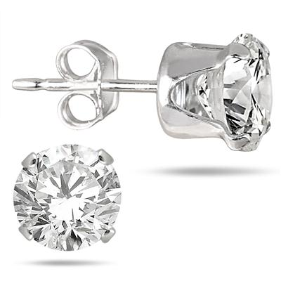6MM Round All-Natural Genuine White Topaz Earrings in .925 Sterling Silver