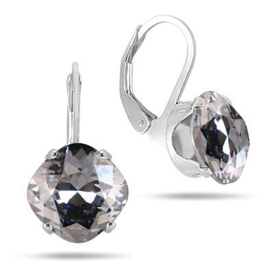 10 MM Cushion Cut Genuine SWAROVSKI Element Crystal Lever Back Earrings in .925 Sterling Silver