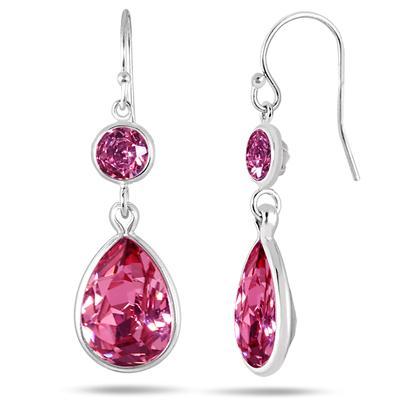 Genuine Swarovski Element Pink Crystal Drop Earrings in .925 Sterling Silver
