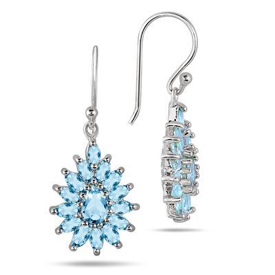 3.00 Carat Blue Topaz Hook Earrings in .925 Sterling Silver