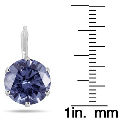 10 MM Round Genuine SWAROVSKI Element Blue Crystal Lever Back Earrings in .925 Sterling Silver