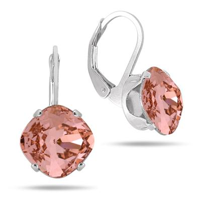 10MM Cushion Cut Genuine Peach SWAROVSKI Element Crystal Lever Back Earrings in .925 Sterling Silver