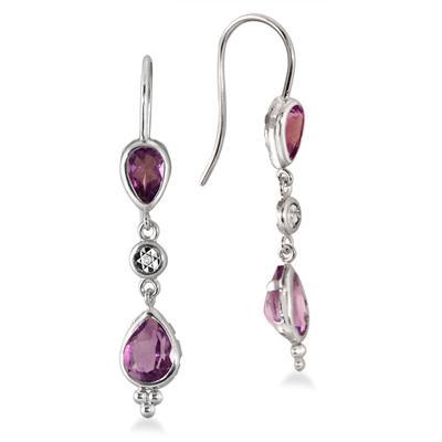 Pear Shape Amethyst and Diamond Dangle Earrings in .925 Sterling Silver