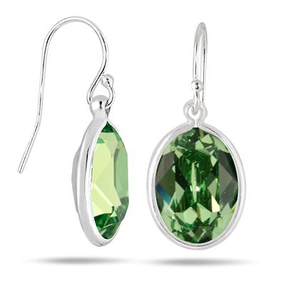 Genuine Swarovski Element Green Crystal Earrings in .925 Sterling Silver