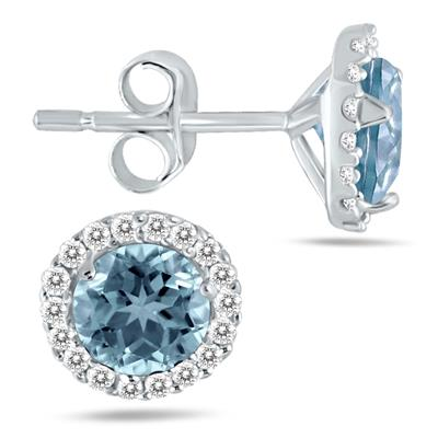 5MM Aquamarine and Diamond Stud Earrings in 14K White Gold