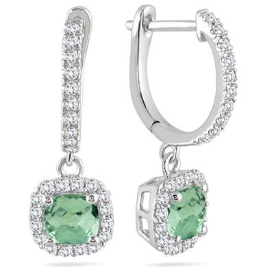 1 Carat Green Amethyst and Diamond Halo Dangle Earrings in 10K White Gold
