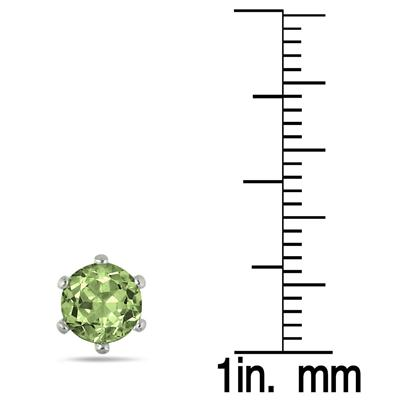 6MM Round All-Natural Genuine Peridot Earrings in Rhodium Plated Brass