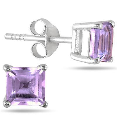 1.25 Carat TW Square Amethyst Stud Earrings in .925 Sterling Silver