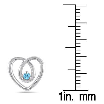All Natural Blue Topaz Heart Earrings in .925 Sterling Silver
