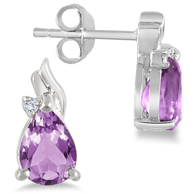 1.30 Carat Amethyst and Diamond Earrings in .925 Sterling Silver