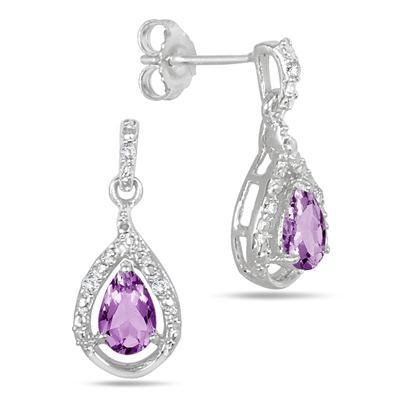 0.70 Carat T.W Amethyst and Diamond Earrings in .925 Sterling Silver