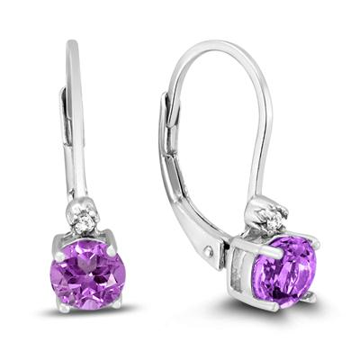 5mm Round Amethyst Earrings and Diamond Lever Back Earrings in .925 Sterling Silver