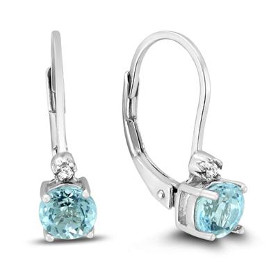5mm Round Blue Topaz and Diamond Lever Back Earrings in .925 Sterling Silver