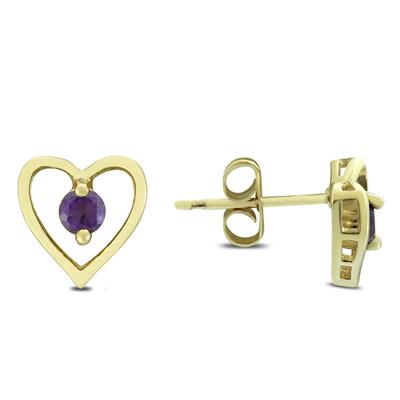 3mm Amethyst Heart Earrings in .925 Sterling Silver