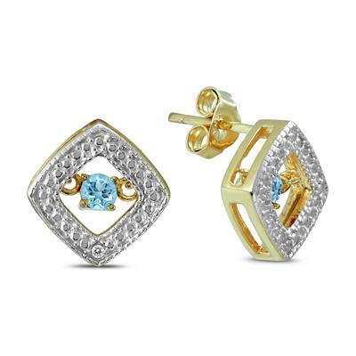 BlueTopaz and Diamond Dancer Earrings in .925 Sterling Silver
