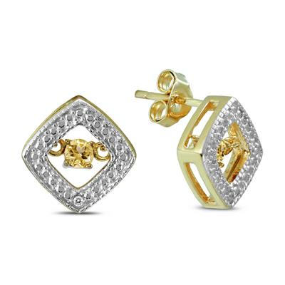 Citrine and Diamond Dancer Earrings in .925 Sterling Silver