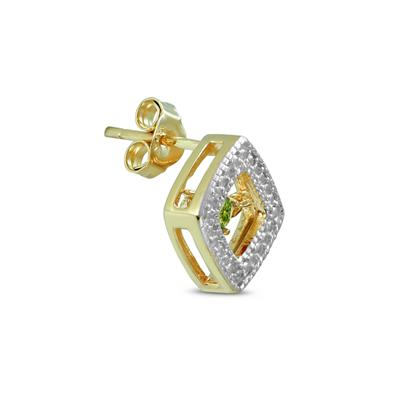 Peridot and Diamond Dancer Earrings in .925 Sterling Silver