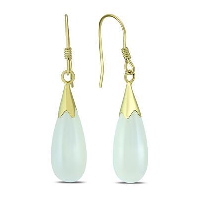 White Jade Tear Drop Hook Earring in .925 Sterling Silver
