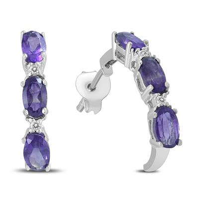 Amethyst and Diamond Earrings in .925 Sterling Silver