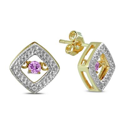 Amethyst and Diamond Dancer Earrings in .925 Sterling Silver
