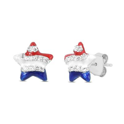 Red White and Blue Star Spangle Created White Sapphire Earrings in .925 Sterling Silver