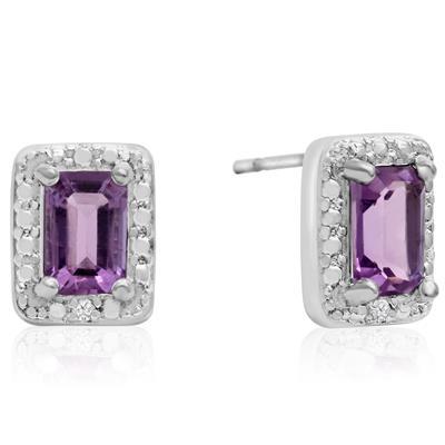 1 Carat Emerald Shaped Amethyst and Halo Diamond Earrings