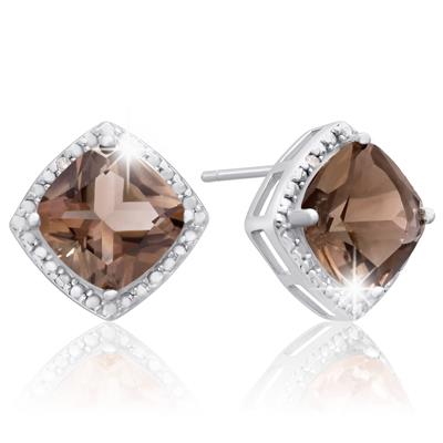Szul 3 3/4 Carat TW Smoky Quartz & Diamond Earrings In Sterling Silver