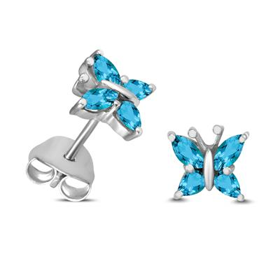 Swiss Blue Topaz Butterfly Stud Earrings in .925 Sterling Silver