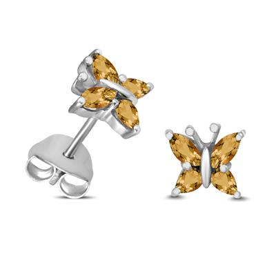 Citrine Butterfly Stud Earrings in .925 Sterling Silver