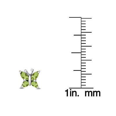Peridot Butterfly Stud Earrings in .925 Sterling Silver