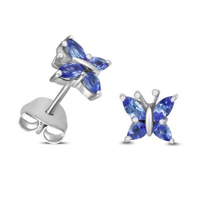 Tanzanite Butterfly Stud Earrings in .925 Sterling Silver
