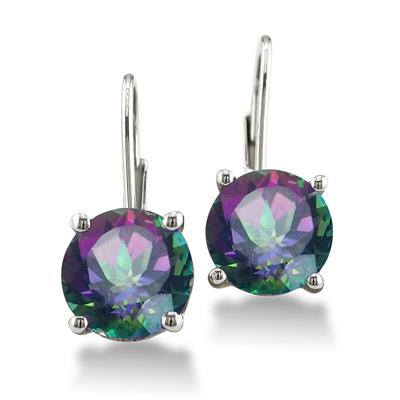 5 Carat Mystic Topaz Lever Back Drop Earrings in .925 Sterling Silver