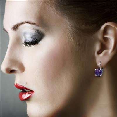 5 Carat TW Amethyst Drop Earrings in .925 Sterling Silver