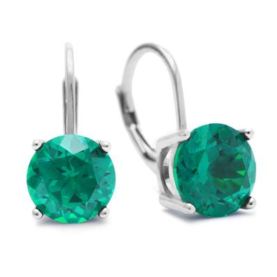 5 1/2 Carat TW Created Emerald Leverback Earrings In Sterling Silver