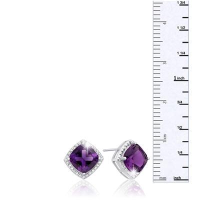 3 3/4 Carat TW Cushion Cut Amethyst and Diamond Earrings in .925 Sterling Silver
