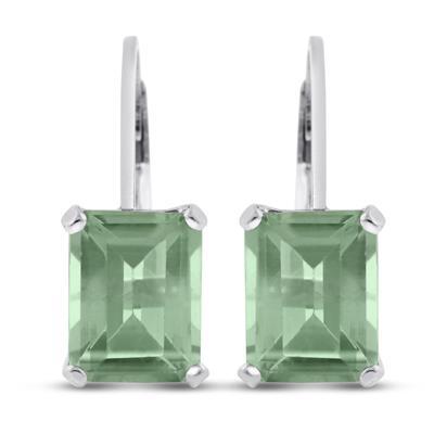 4 1/4 Carat TW Emerald Shape Green Amethyst Leverback Earrings  in .925 Sterling Silver