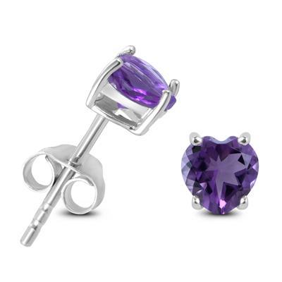 5mm Heart Shaped Amethyst Earrings in .925 Sterling Silver