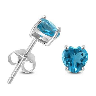 5mm Heart Shaped Blue Topaz Earrings in .925 Sterling Silver